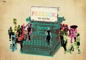 macchina da scrivere con parola freedom