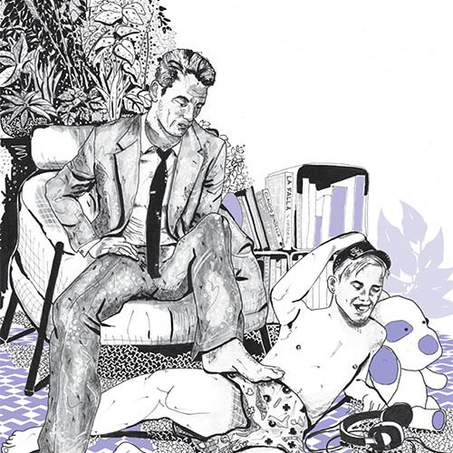 uomo adulto con adolescente in salotto