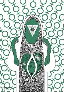 figura fallica con simboli femminili intorno