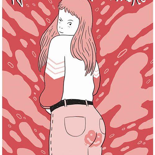 ragazza con jeans macchiati di sangue mestruale