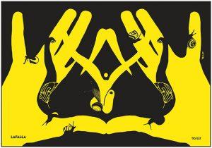 mani e lumache che formano il simbolo della vagina