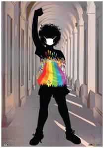 sagome di persona con bandiera rainbow e pugno alzato